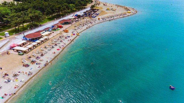 Пляжи Геленджика<br> - вид с воздуха