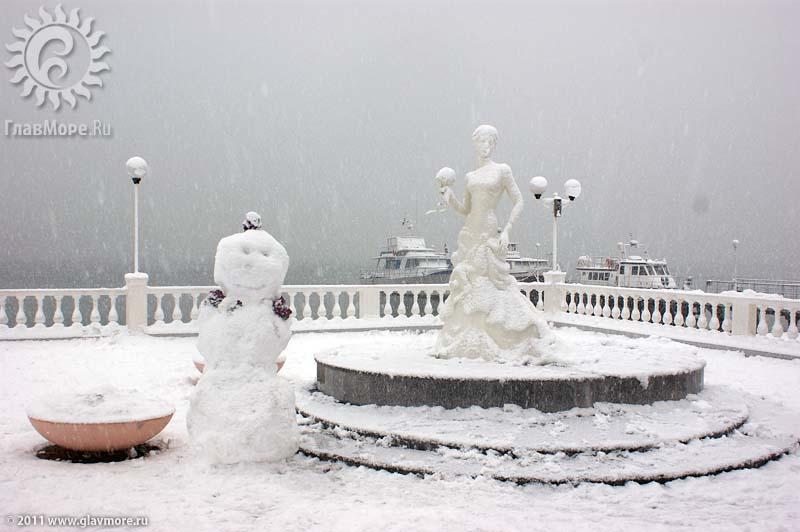 Геленджик завалило снегом фото 36